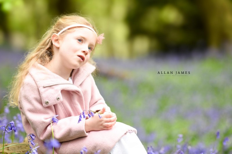 Outdoor bluebells South Wales child photography portrait candid